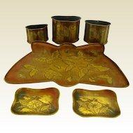 Japanese Art Nouveau Tray and Pot Ensemble with Butterflies
