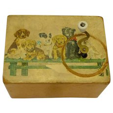 Vintage Children's Musical Box with Dogs, circa 1930