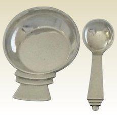 Georg Jensen Sterling Silver Salt Cellar with Spoon: PYRAMID design