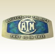 """Silver & Enamel Art Nouveau Brooch for Liberty & Co: """"Neglect not the gift that is in thee"""""""