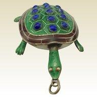 Art Deco Turtle or Tortoise Silver and blue/green Enamel Pendant