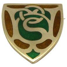 Sterling Silver & Enamel Shield Brooch: Birmingham 1918