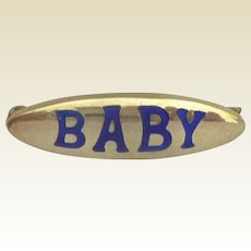 "Sterling Silver & Blue Enamel Brooch: ""Baby"", Chester, 1911"