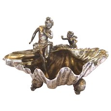French Art Nouveau Centerpiece with Maiden, Cherub, Mussel and Snails