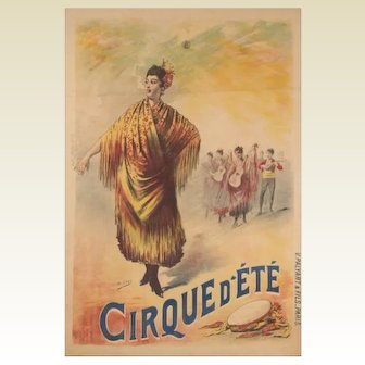 Original French Art Nouveau Circus Poster: Henri Gray: Cirque d'Été, around 1900