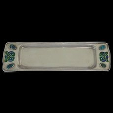 Archibald Knox, Liberty & Co, CYMRIC, Card Tray: Sterling Silver, Blue/Green Enamel and Turquoise Cabochons