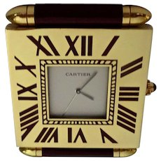 Must de Cartier Square Travelling Alarm Clock: New Old Stock