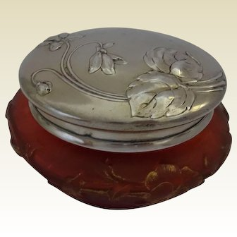 Daum (Nancy, France) Cameo Glass Art Nouveau Vase with Solid Silver Lid