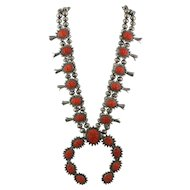 Unique Vintage Southwest Sterling Silver Carved Coral Squash Blossom Necklace