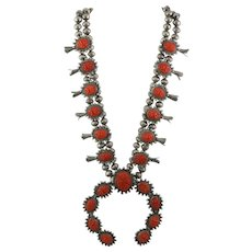 Unique Vintage Southwest Sterling Silver Carved Coral Squash Blossom Necklace
