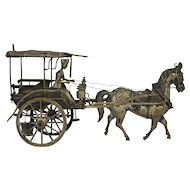 Silver Plated Asian Export Horse Drawn Taxi With Driver