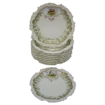 """Set of 10 Antique Limoges T&V 9 1/2"""" Plates with Cows and Sheep"""