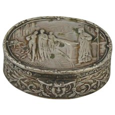 Antique High Quality 800 Silver Miniature Hinged Trinket or Pill Box with Repousse Antiquity Scene Including Satyr On Front and Back