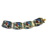 Norwegian Oystein Balle Vintage Modernist Sterling Silver Enamel Bracelet