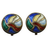 Vintage Modernist Norwegian Sterling Silver and Enamel Clip Earrings by Oystein Balle