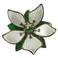 David Andersen Green and White Enamel Floral Brooch Sterling Silver 925 S Pin
