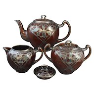 Art Nouveau Lenox Teapot Creamer and Sugar Bowl With Iris or Orchid Silver Overlay