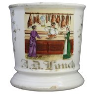 Antique Austrian Occupational Scenic Shaving Mug Featuring a Butcher Shop