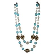 Signed Freirich Costume Double Strand Necklace with Aqua and Clear Beads,  AB Ball Clusters and a Floral Box Clasp
