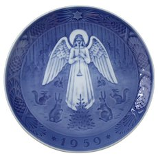 Vintage 1959 Royal Copenhagen Julenat Christmas Plate by Hans H Hansen Featuring an Angel on Christmas Night