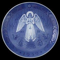 Vintage 1959 Royal Copenhagen Julenat Christmas Plate by Hans H Hansen Featuring an Angel on Christmas Night