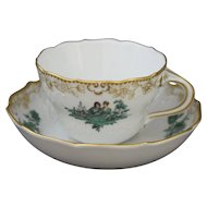 Meissen Watteau Green Coffee Mocha Cup and Saucer in Neumarseille Shape