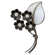 Norwegian 1940s Bernard Meldahl Sterling Silver 925S White and Black Floral Pin/Brooch