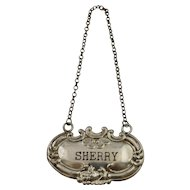 Vintage Sterling Silver Liquor Bottle Tag For Sherry Decanter