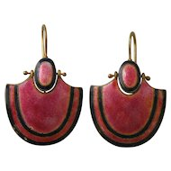 Vintage 900 Silver Gilt Chinese Export Art Deco Pink and Black Enamel Earrings