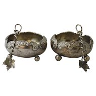 Pair of Sterling Silver Footed Salt Cellars with Leaf Motif Spoons