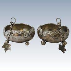 Pair of Sterling Silver Footed Salt Cellars with Leaf Motif Spoons