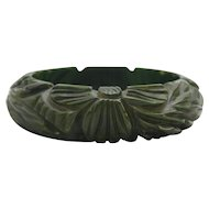 Vintage Heavily Carved Floral Bakelite Bangle Bracelet in Creamed Spinach Color