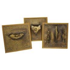 Set of 3 Francesca Mascitti Lindh Art Pottery Modernist Plaques for Arabia Finland