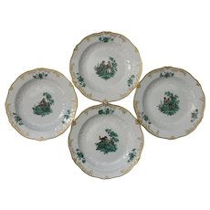 "Set of Four (4) Meissen Green Watteau Courting Scene 7"" Plates"