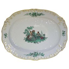 "Large Meissen Green Watteau Courting Scene 17 1/4"" Oval Serving Platter"