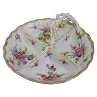 Antique Handpainted Floral Porcelain 4 Section Divided Handled Dish