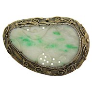 Chinese Carved Jade 800 Silver Filigree Pin or Brooch