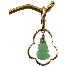 14K Gold With Carved Jade Dangle Pendant