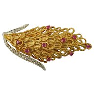 18K Gold Italian Brooch With 9 Rubies and 20 Diamonds