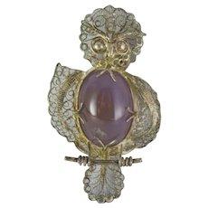 VTG 800 Silver Filigree Owl on Perch Pin Pendant Brooch with Purple Cabochon