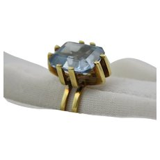 Russian 583 14K Gold Ring with Emerald Cut Blue Spinel Size 7.5