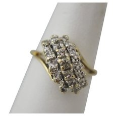 14K Gold Tiered Waterfall Ring with 19 Diamonds Size 6
