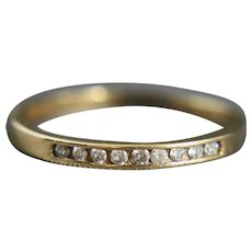 10K Gold Ring 9 Diamond Channel Band Size 7.5