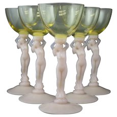 Set of 5 Cambridge Nude Crown Tuscan 3011 Mandarin Gold and Pink Cocktail Goblet Stems