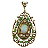 14K Gold Opal Diamond and Enamel Leaf Pin Pendant Brooch