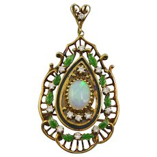 14K Gold Opal Diamond and Enamel Leaf Pin Pendant Brooch