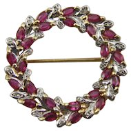 14 K Gold Diamond and Ruby Wreath Brooch