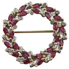 14 K Gold Diamond and Ruby Wreath Brooch