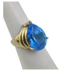 10K Gold Ring With Huge Blue Topaz Size 8.5