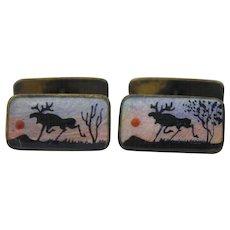 Vintage Aksel Holmsen Norway Guilloche Handpainted Reindeer Sterling Silver Cufflinks